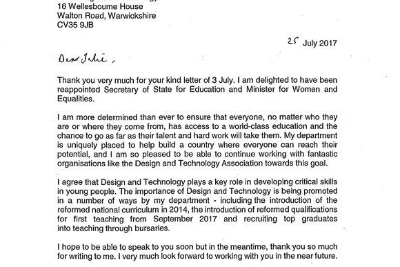 Rt Hon Justine Greening's MP letter to the Design & Technology Association
