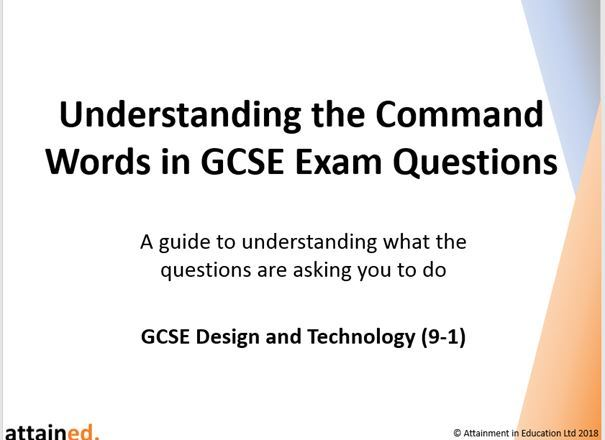 Understanding the Command Words in GCSE Exam Questions - NEW Design and Technology (9-1)