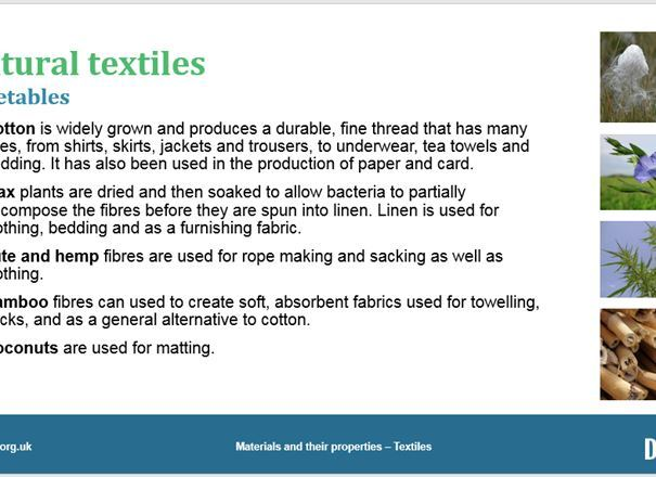 Materials and their properties - Textiles,  GCSE classroom teaching resource