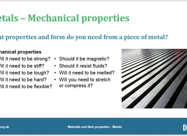 Materials and their properties - Metals, GCSE classroom teaching resource