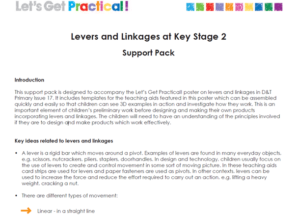 Levers and linkages - Poster and Support Pack YR3/4/5/6