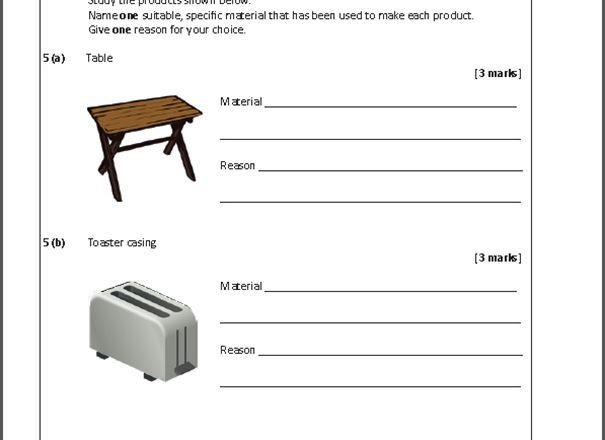 GCSE D&T: Resistant Materials Practice Exam Papers 2018 (Written in the style of AQA)