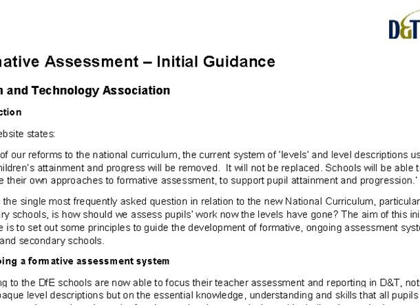 Formative Assessment – Initial Guidance