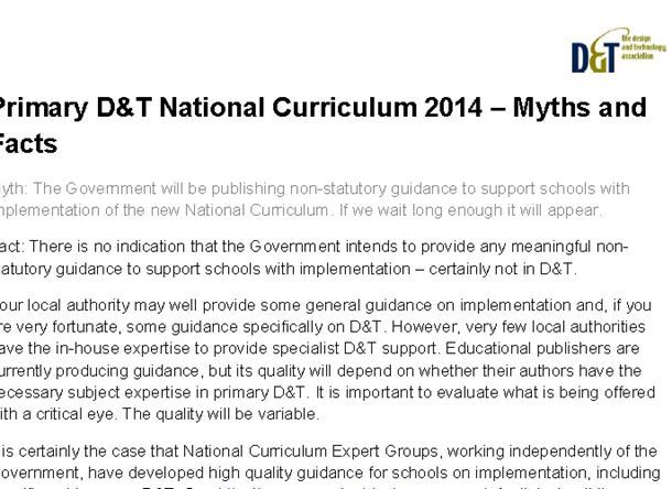 Primary D&T National Curriculum 2014 – Myths and Facts