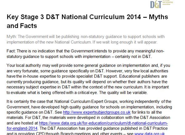 Key Stage 3  D&T National Curriculum 2014 – Myths and Facts